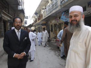 Lawyer Shaukat Aziz Siddiqui in his client Khalid Khawaja in the warrens of the Rawalpindi bar association last year.