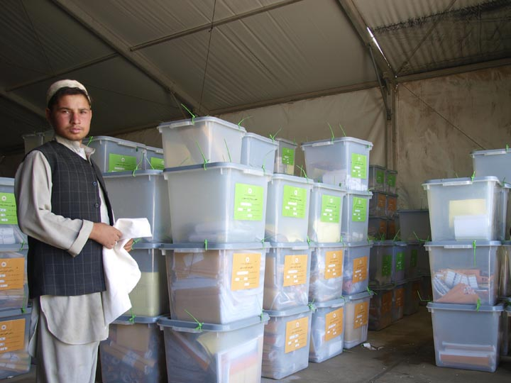 Ballot boxes being stacked in the IEC warehouse. It kind of reminded me of the warehouse where the Ark was safely stowed away at the end of Raiders. ©2009 Derek Henry Flood