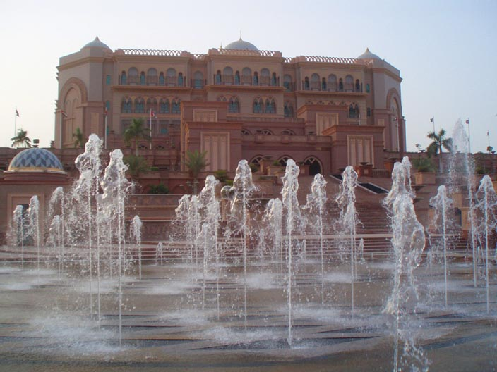 The facade of the enormous Emirates Palace Hotel appears to be just a facade. This garish behemoth was nearly empty and it's Egyptian security guards were quick to tell us where exactly we could and could not walk and breathe.