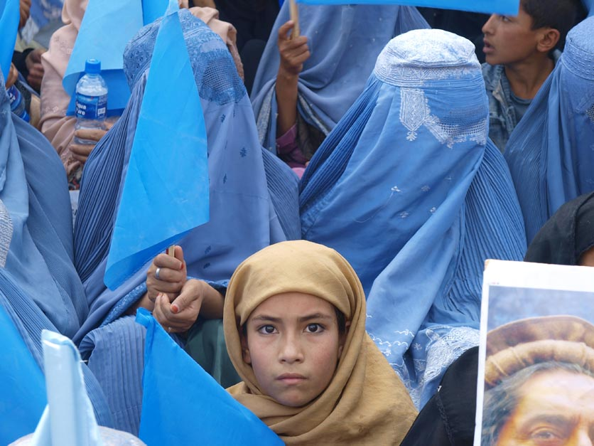 Abdullah rallies female supporters at Ghazi Stadium in Kabul today. Though small in number, there presence in a place where women were once executed is highly symbolic of the fight for Afghanistan. ©2009 Derek Henry Flood