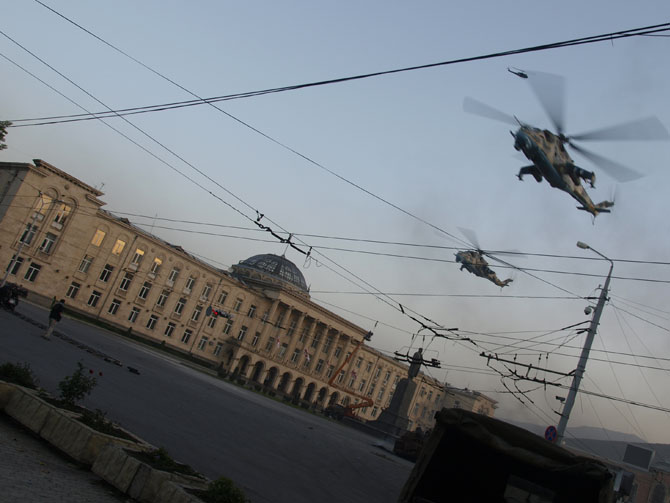 "Russian-made Mi-24 ""Hind"" gunships rattle downtown Gori on the set of the new Renny Harlin film. ©2009 Derek Henry Flood"