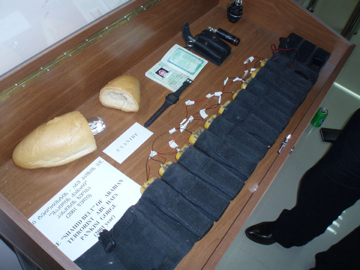 A nail laden suicide bomb belt on display for few to see. ©2009 DHF