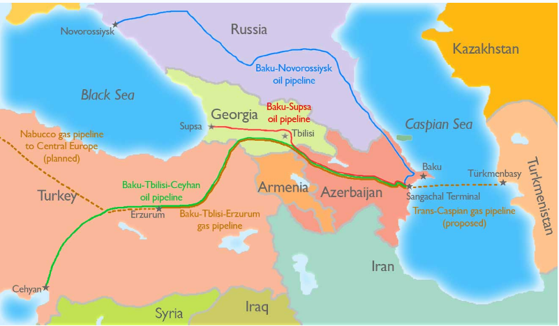 Pipeline Routes Bisecting Eurasia