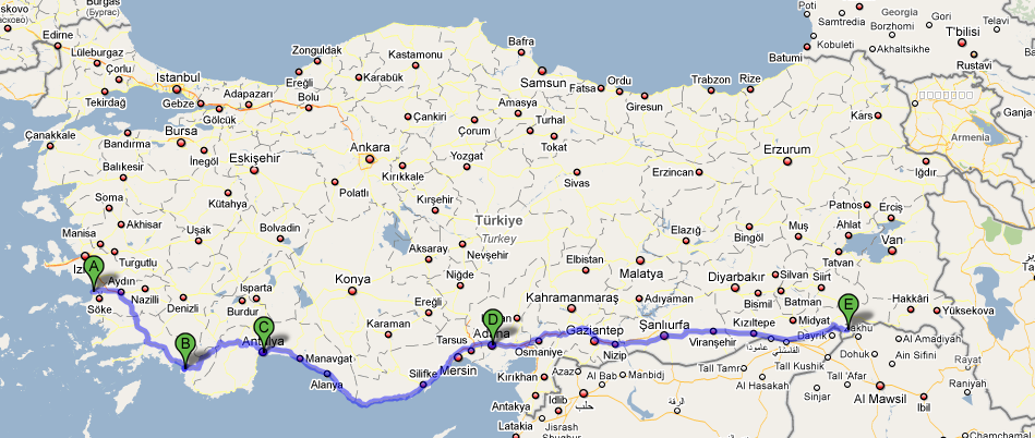 First pan-Turkey route: From West to East.