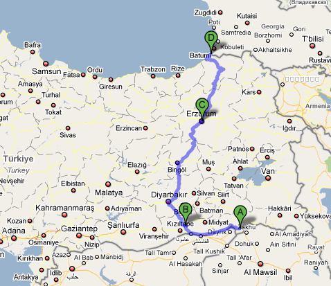 Second pan-Turkey route: From South to North.
