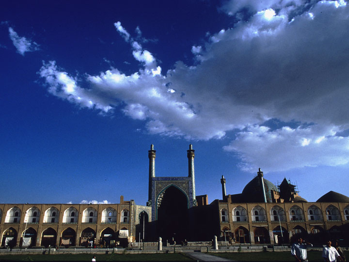 The Safavid-era Imam mosque in Esfahan's Naghsh-i Jahan Square. Brilliant azure skies. ©1999 Derek Henry Flood