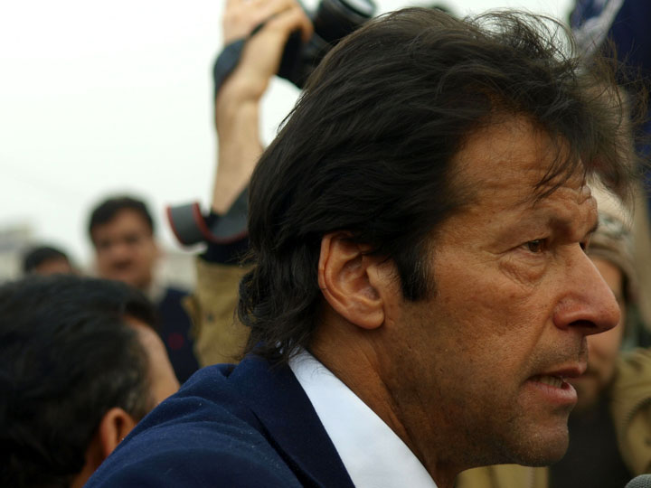 Imran Khan urging his Tehrik-e-Insaf followers to remain infuriated over violations of Pakistan's cherished sovereignty. 2008 Derek Henry Flood