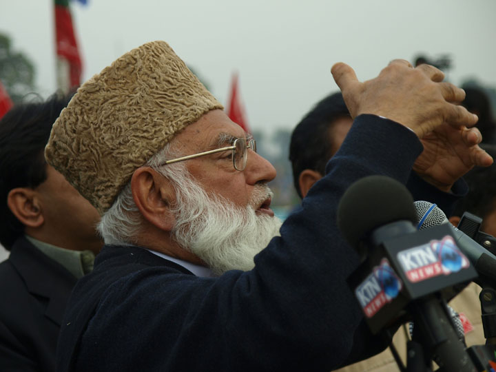 Qazi Hussain Ahmad addresses supporters at Iqbal Park in Lahore, Pakistan on February 16, 2008. 2008 Derek Henry Flood