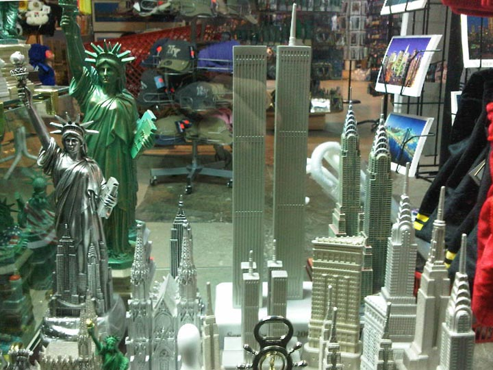 A shop selling a model of the original World Trade Center's Twin Towers. ©2013 Derek Henry Flood