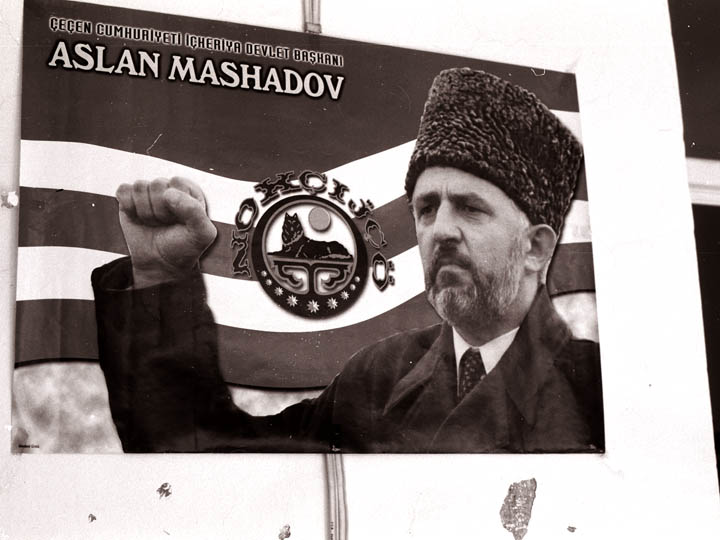 A Turkish-language poster of the late Chechen rebel leader Aslan Maskhadov. ©2002 Derek Henry Flood