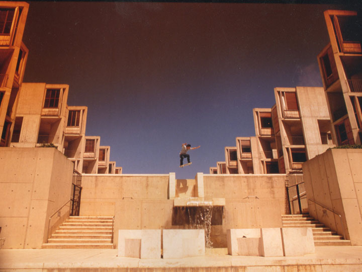 On July 4th, 2003, Charles Rhyu ollies over the cascading fountain of the Jonas Salk Institute of Biological Studies in La Jolla, California, ©2003 Derek Henry Flood