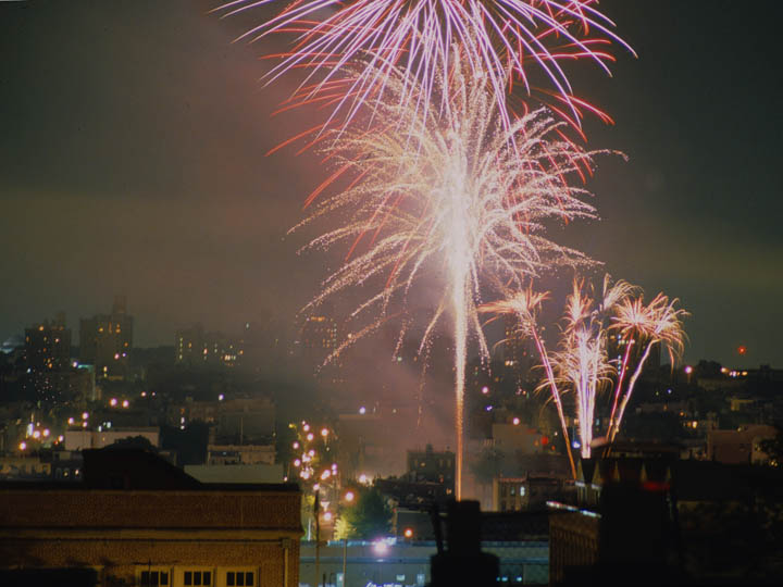 "In Brooklyn, well after the official fireworks, there were then the late night ""neighborhood"" fireworks shows often attributed to local mobsters as a display of their bravado. ©2002 Derek Henry Flood"