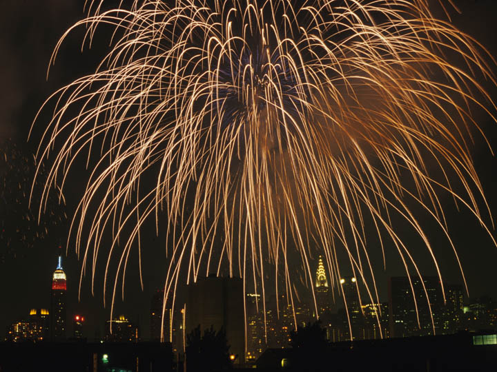 New York City's first July 4th fireworks celebration after the 9/11 attacks. ©2002 Derek Henry Flood