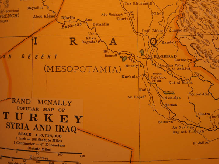A pre-World War II atlas map of Iraq from my personnel collection. ©2013 Derek Henry Flood