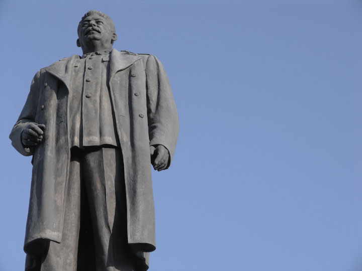 Stalin standing atop his plinth in Gori in October 2009. ©2009 Derek Henry Flood