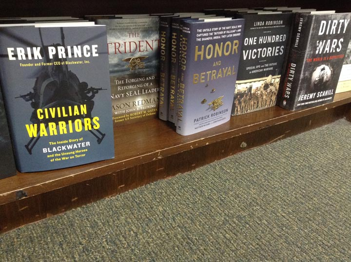 Now isn't this juxtaposition just rich? Erik Prince's book on the left and Scahill-who rose to fame by vilifying Prince-on the left. Wonder if the store employees thought this was funny.