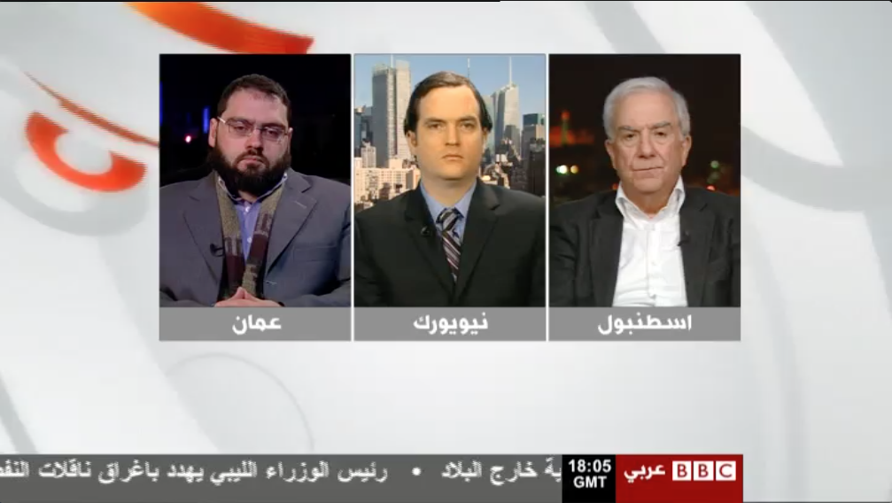 I appeared on BBC Arabic's Newnight present by Fidah Bassil with Ahmad Abazed (l) Samir Nashar (r) on the January 8th broadcast.
