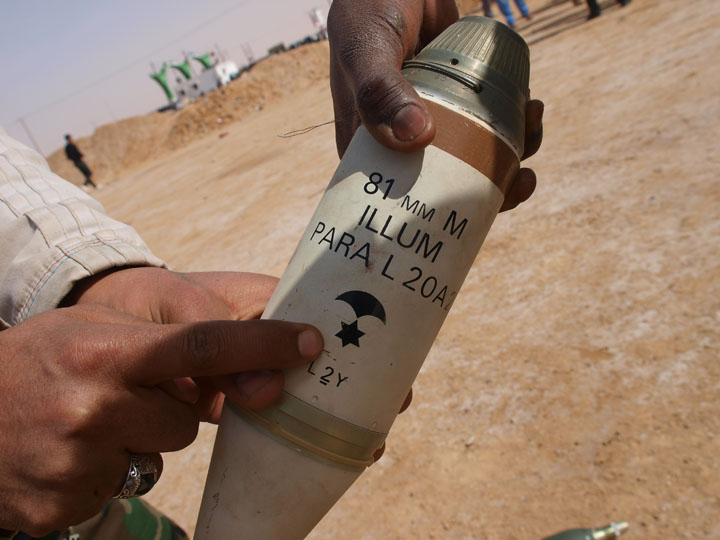 Conspiracies abounded over this 81mm mortar shell that it was a piece of Israeli ordinance being supplied to Qaddafi's forces. ©2011 Derek Henry Flood