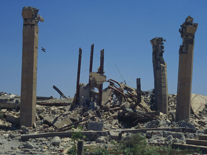 "Forest of destruction. All that was left of the building after a ""surgical strike"" were its ornery pillars which refused to topple. ©2003 Derek Henry Flood"