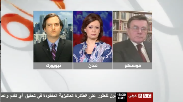 I appeared on BBC Arabic on March 22 with presenter Rasha Qandeel and former Russian diplomat Vyacheslav Matuzov to discuss Russian's foreign policy of protecting its external minorities.