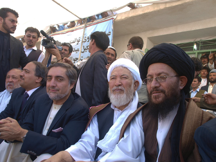 Abdullah on the campaign trail in Daikundi Province, August 11, 2009. Though the Afghan conflict is primarily painted along ethno-linguistic lines in terms of warlords and their patronage ethnic systems, there is also the Islamic schism whereby politicos from Kabul try and curry favor to get out he Shia vote. Not nearly as stark a sectarian conflict as that in Iraq, for those familiar with the history of 1990s Afghanistan, the sectarian factor played an important role in the conflict. ©2009 Derek Henry Flood