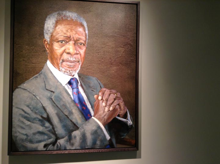A portrait of Ghanian statesman Kofi Annan hanging in the lobby of the United Nations headquarters situated along Manhattan's East River. ©2014 Derek Henry Flood