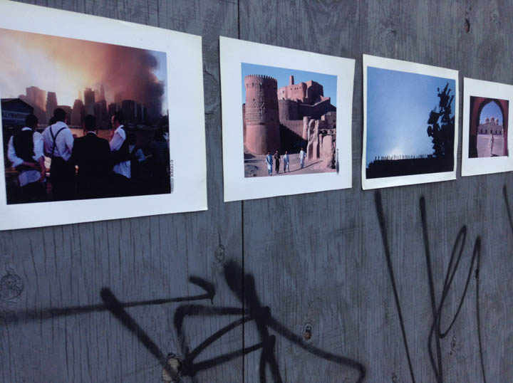 A close up of my art installation in Queen's, New York's Long Island City neighborhood. From left to right: 9/11 as seen from Brooklyn, the Arg-e-Bam (before its destruction in a 2003 earthquake), the USS Nimitz in Coronado, California shortly before the 2003 invasion of Iraq, and the Abassi masjid next to the Derawar Fort in the Cholistan Desert, Punjab Province, Pakistan.