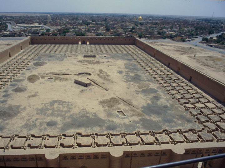 The ancient Grand Mosque of Samarra, once the seat of the Abassid Caliphate, as seen from the top of the conical Malwiya minaret. ©2003 Derek Henry Flood