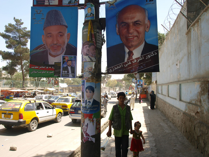 Ghani the technocrat. Posters of incumbent Hamid Karzai and opposition candidate Ashraf Ghani hang from a lamp post during the August 2009 election campaign. ©2009 Derek Henry Flood