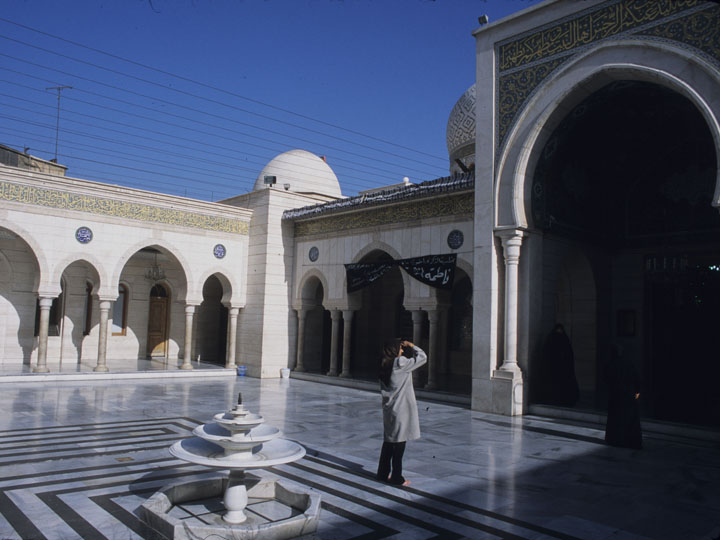 The 1980's-era Iranian-built shrine complex of Sayyida Ruqayya, Imam Hussein's daughter, north of the Umayyad mosque in Damascus' Old City. ©2002 Derek Henry Flood