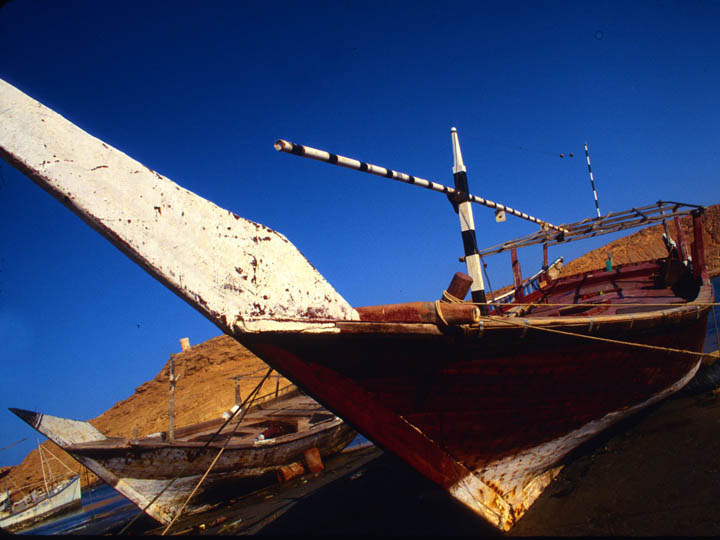 Dhows on the dock in the port of Salahlah, in the southern Dhofar Governorate abutting Yemen. ©2000 Derek Henry Flood