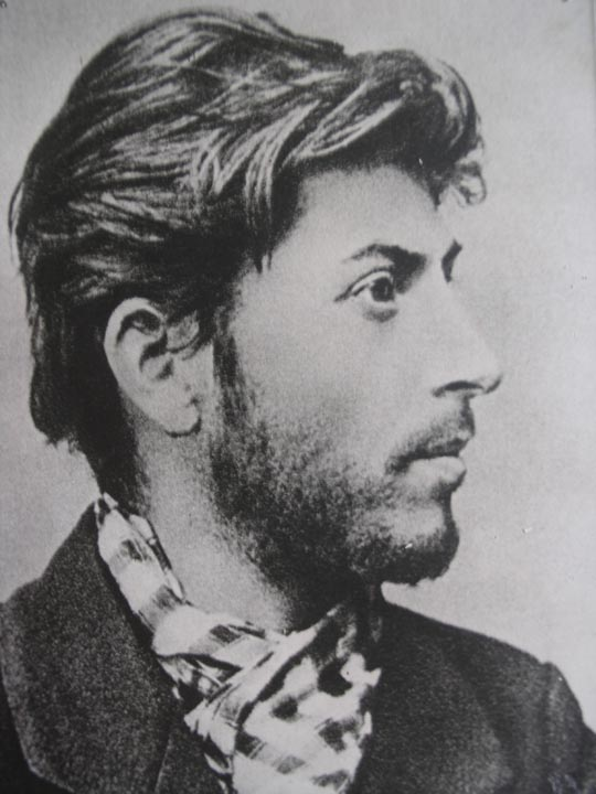 Profile portrait of Stalin as a young Bolshevik after his arrest in the Stalin museum in Gori, Georgia.