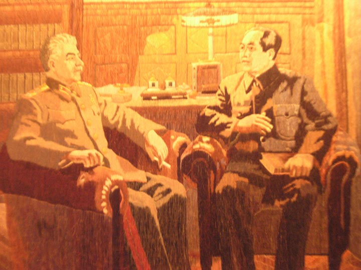 Does it get much more twisted kitsch than this? Stalin having a smoke and chilling with Mao.