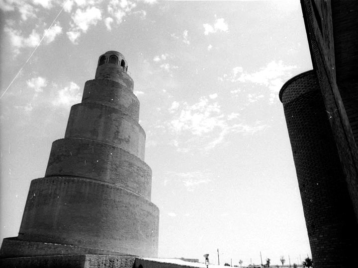The massive spiral minaret, known as the Malwiyya, adjacent the the Great Mosque of Samarra. ©2003 Derek Henry Flood
