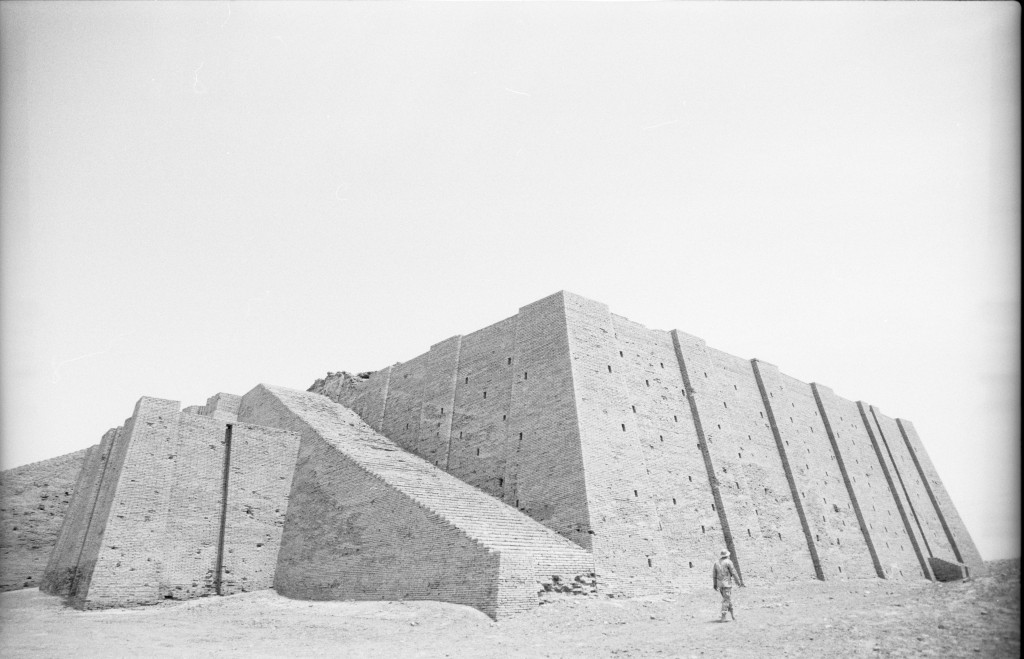 An American soldier passes by the hulking ziggurat of Ur near Nasiriyyah in southern Iraq. ©2003 Derek Henry Flood