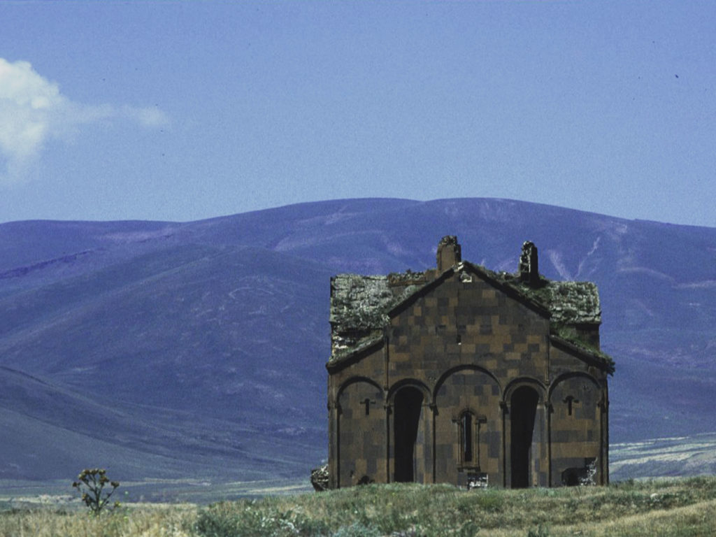 The cathedral of Ani set amidst the sprawling grasslands abutting the Armenian border. ©1999 Derek Henry Flood