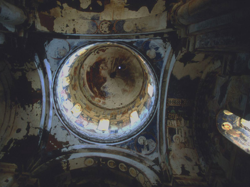 Gorgeous, distressed frescoes in the dome of the church of St Gregory of Tigran Honents at Ani. Remnants of a vanished culture. ©1999 Derek Henry Flood