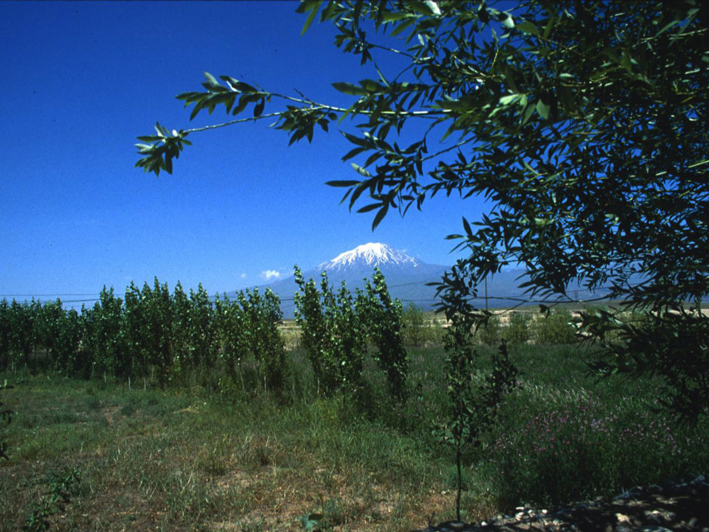 A view of Mt. Ararat in Ağrı Province, Turkey near the border with the present day Republic of Armenia. Ararat is a dormant volcano  noted in the Book of Genesis where the fabled Noah's Ark came to rest following the Great Flood. ©1999 Derek Henry Flood