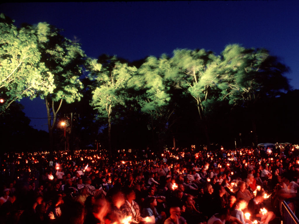 A candlelight vigil was held in Brooklyn's Prospect Park on the evening of September 11, 2002 to commemorate the one-year anniversary of the suicide attacks that shook New York City to its core the previous year. ©2002 Derek Henry Flood