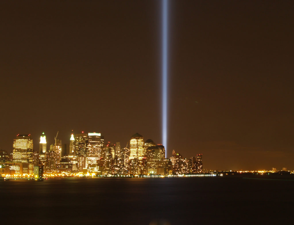 The Towers of Light as photographed from across the Hudson River in New Jersey on the 5th year anniversary of 9/11. ©2006 Derek Henry Flood