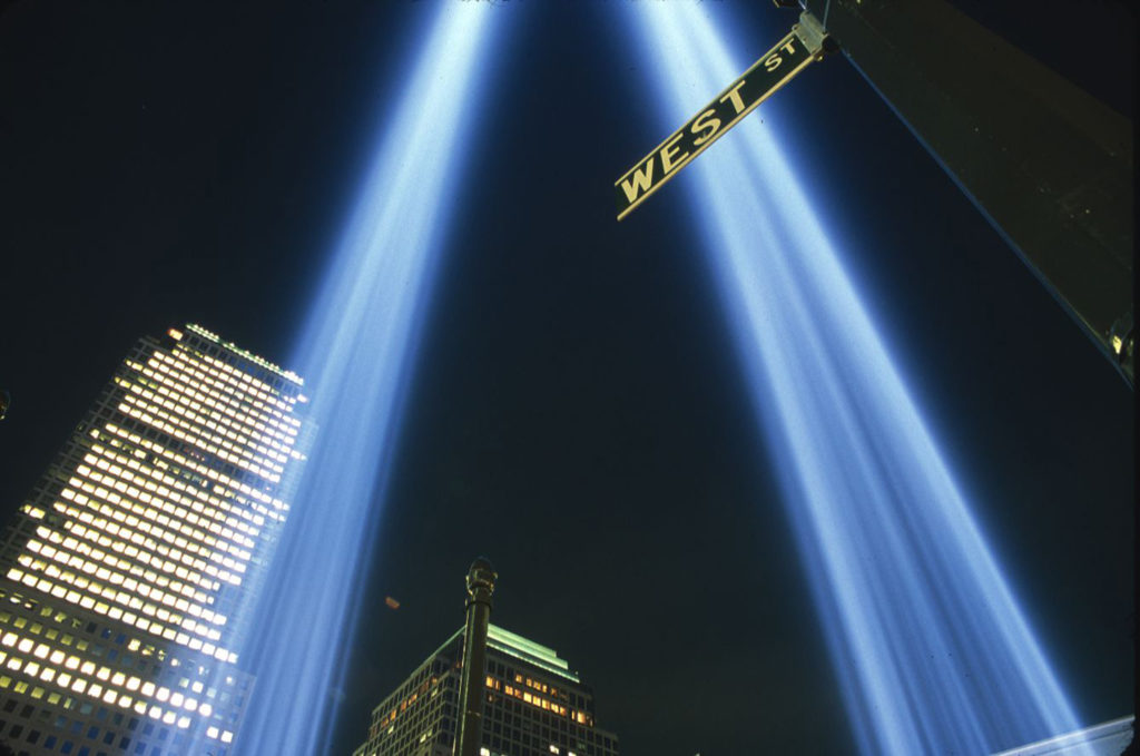 The towers of light on 9/11/03. ©2003 Derek Henry Flood