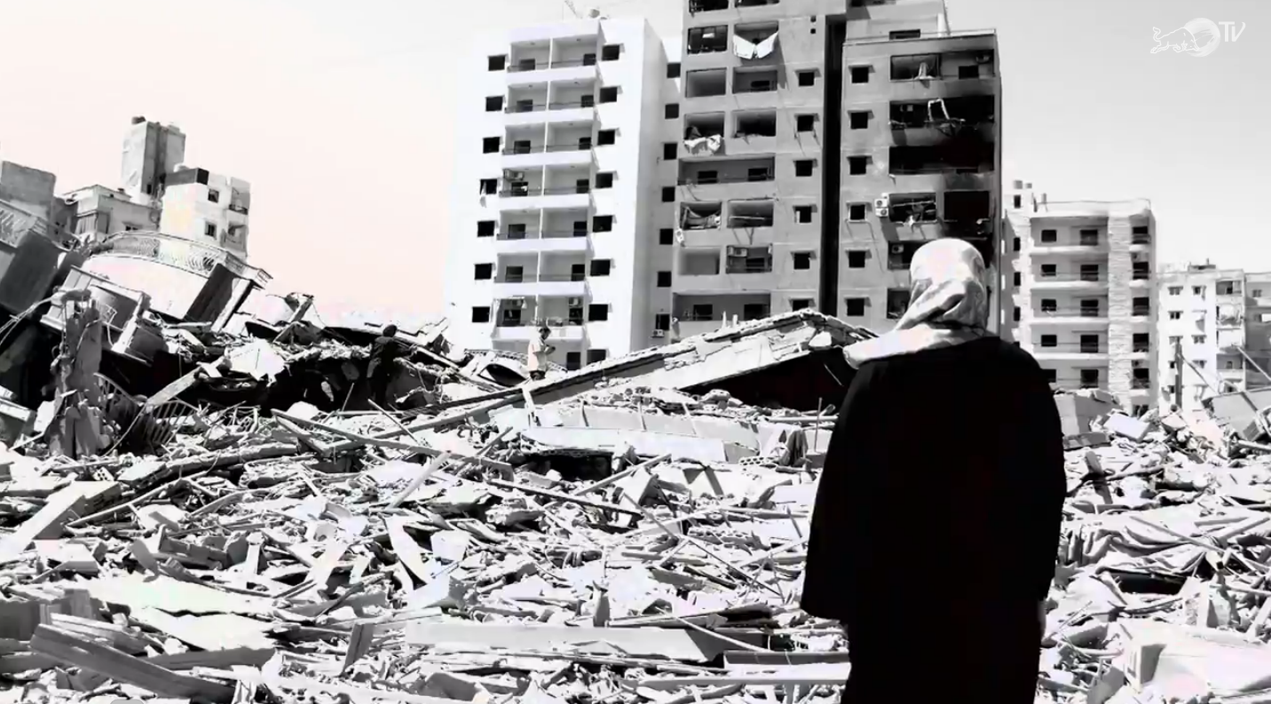 A Lebanese woman looks at the ruins of her neighborhood in the Beirut suburb of Haret Hreik after the UN-mediated ceasefire between the belligerents made it possible to return home...or the rubble that was left of it. ©2006 Derek Henry Flood