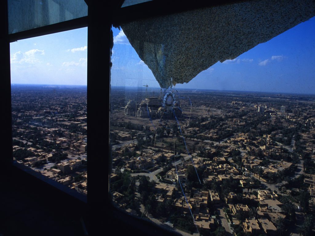 View of Baghdad's al-Mansour district and Saddam Hussein's unfinished ar-Rahman mosque taken from Baghdad tower after the fall of the regime. ©2003 Derek Henry Flood